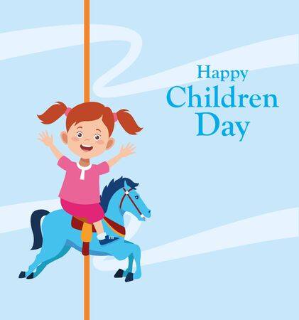 Happy children day design with girl in a horse carousel over blue background, vector illustration Иллюстрация
