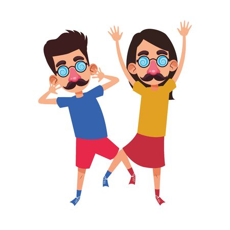 happy man and boy with crazy glasses and mustache over white background, vector illustration