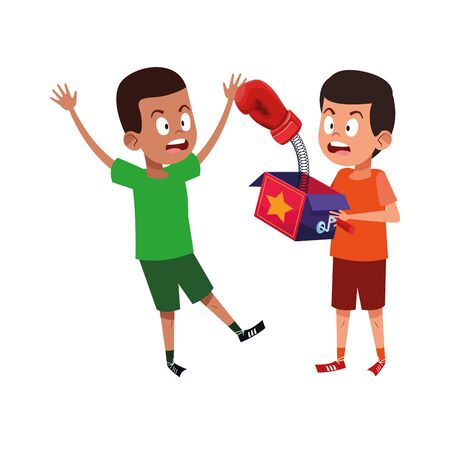 scared boy and boy with joke box icon over white background, vector illustration Illustration