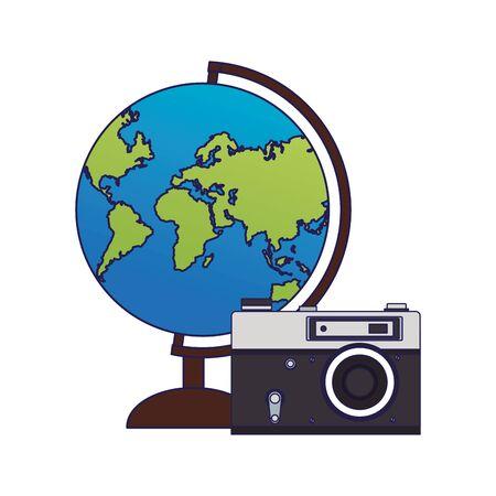 earth globe and photographic camera icon over white background, vector illustration Illusztráció