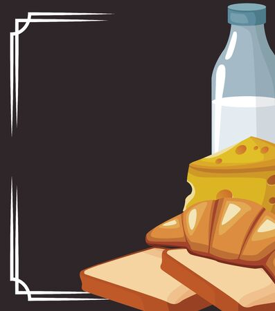 milk bottle with loaves and piece of cheese over black background, vector illustration