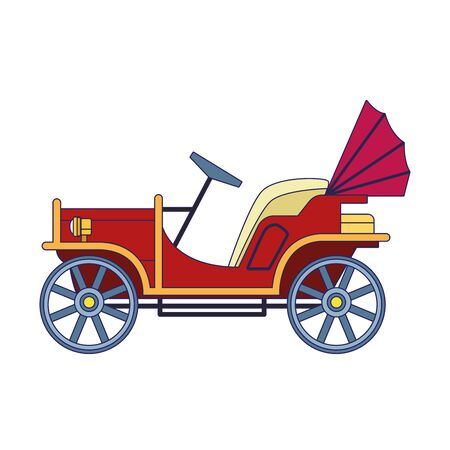 vintage carriage icon over white background, vector illustration