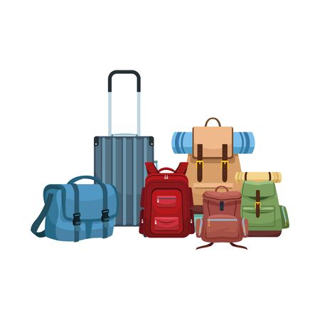 バッグとバックパックのアイコンが白い背景、ベクトルイラストの上にアイコンを持つ旅行スーツケース ベクターイラストレーション