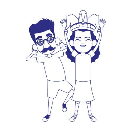 cartoon girl with jester hat and boy with crazy glasses icon over white background, vector illustration