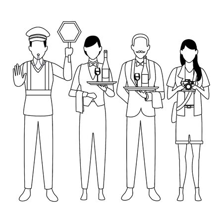 Jobs and professions professionals workers isolated vector illustration graphic design Foto de archivo - 134428278