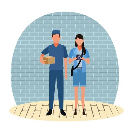 Jobs and professional workers inside building bricks wall and wooden floor vector illustration graphic design Foto de archivo - 134428285