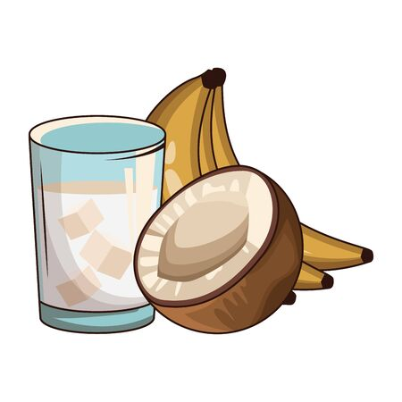 coconut cocktail and banana over white background, vector illustration