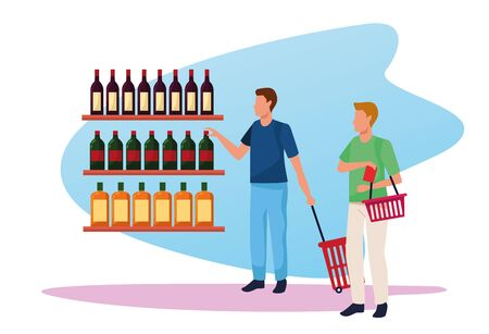 avatar men at supermarket shelves with bottles over white background, colorful design , vector illustration Illustration
