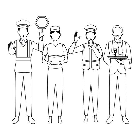Jobs and professions professionals workers isolated vector illustration graphic design Foto de archivo - 134428391