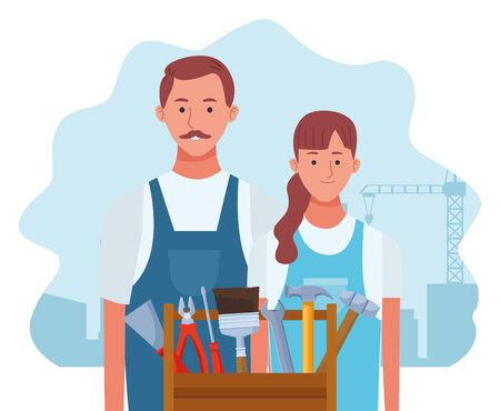 cartoon repair woman and man with tools box over white background, colorful design , vector illustration