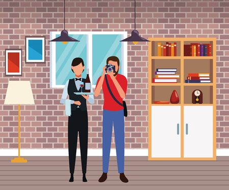 Jobs and professional workers inside home with furniture scenery vector illustration graphic design Foto de archivo - 134428398