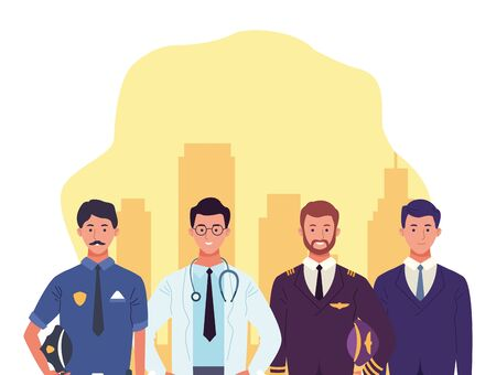 cartoon police man with doctor man, pilot and businessman standing over yellow and white background, colorful design , vector illustration