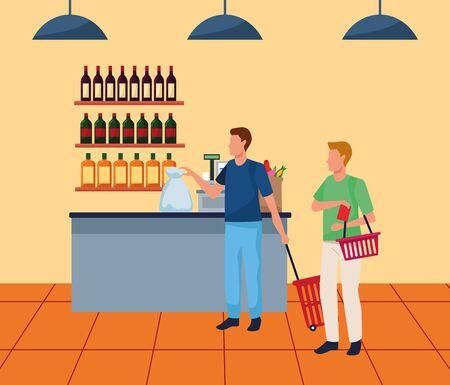 avatar men at supermarket cash register, colorful design , vector illustration