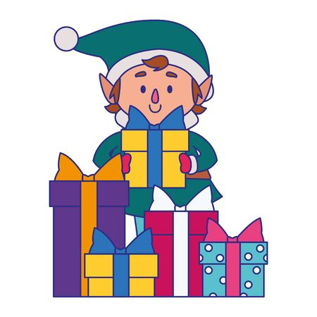cartoon christmas elf with gift boxes over white background, vector illustration