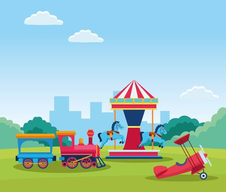 train and horses carousel with light aircraft over field background, colorful design. vector illustration Иллюстрация