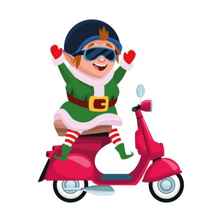 chirstmas elf riding a motorcycle icon over white background, vector illustration