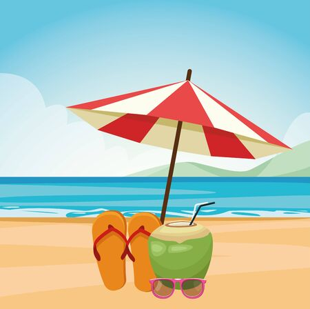 parasol with sandals and coconut drink at the beach, colorful design , vector illustration Foto de archivo - 134436549