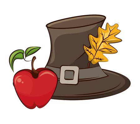 pilgrim hat with autumn leaf and apple fruit vector illustration design
