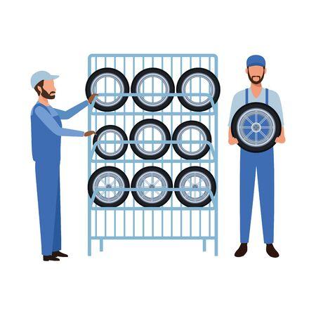 industry car manufacturing wheels cartoon vector illustration graphic design Standard-Bild - 134436561