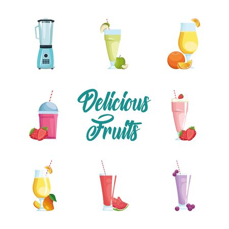 Fruits smoothies icon set design, Healthy organic food sweet nature juicy and tropical theme Vector illustration