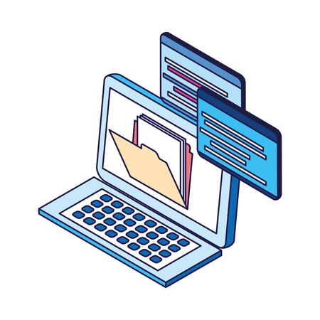 laptop computer with file icon over white background, vector illustration