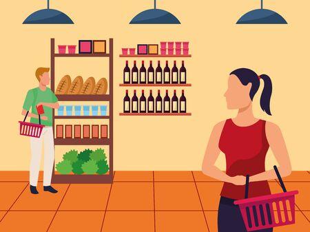 avatar man and woman in the supermarket aisle, colorful design , vector illustration Foto de archivo - 134440374