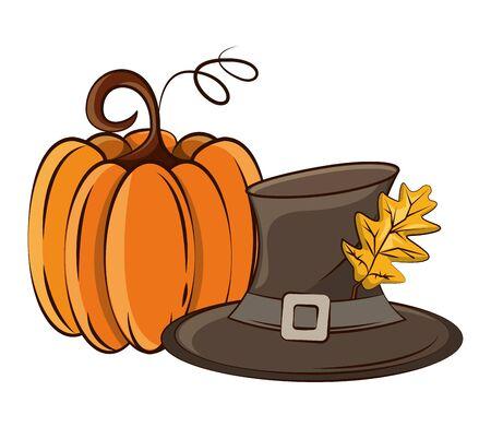 thanksgiving pumpkin with pilgrim hat vector illustration design Foto de archivo - 134440378