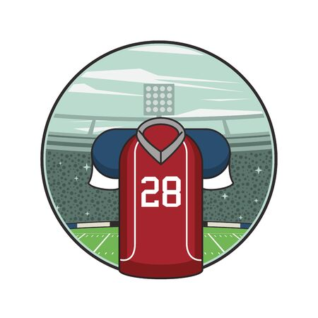 american football sport uniform shirt icon vector illustration design