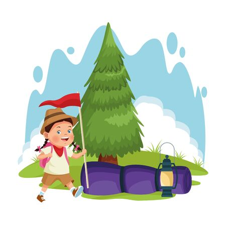 cartoon explorer girl at forest camping with sleeping bag and flag over white background, colorful design , vector illustration