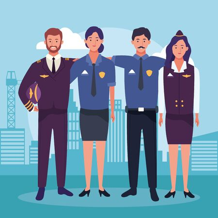 cartoon air hostess and pilot with police man and woman over urban city buildings scenary background, colorful design , vector illustration