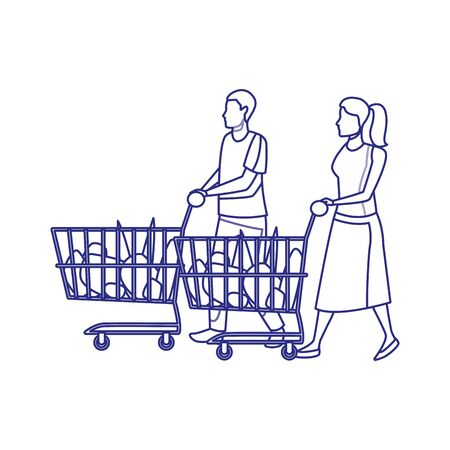 avatar man and woman with supermarket carts over white background, vector illustration