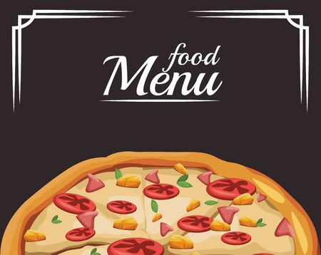 food menu with pizza over black background, colorful design , vector illustration 일러스트