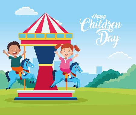 children day celebration with kids playing in carousel vector illustration design Иллюстрация