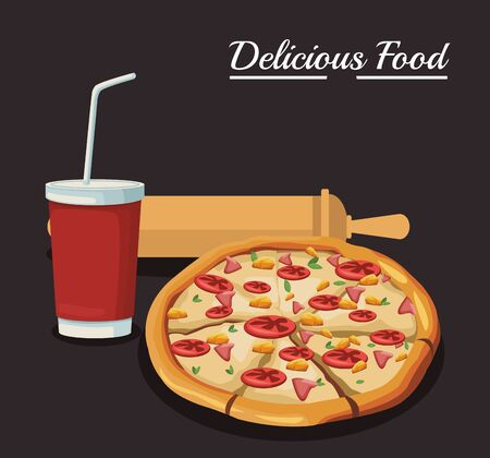 pizza with soft drink and rolling pin utensil over black background, colorful design , vector illustration 일러스트