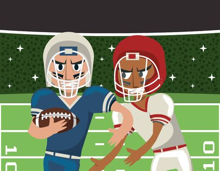 american football players playing characters vector illustration design Illusztráció