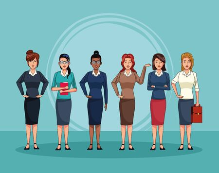 businesswomen with office elements people characters vector illustration graphic design