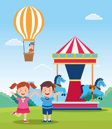 happy children day design with cartoon happy kids and carousel over field background, vector illustration Иллюстрация