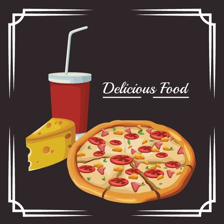 pizza and piece of cheese and soft drink cup over black background, vector illustration 일러스트