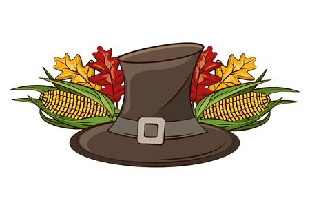 pilgrim hat with autumn leaf and corn vegetable vector illustration design Ilustracja