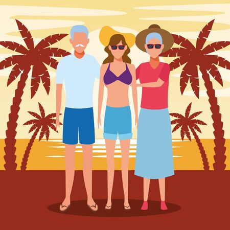 avatar old couple and woman enjoying the beach, colorful design. vector illustration