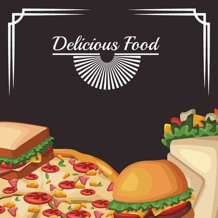 delicous fast food over black background, colorful design , vector illustration