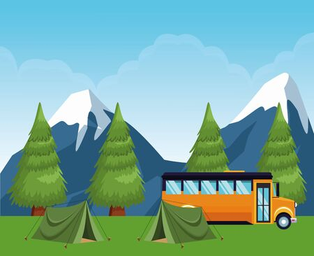 school camping in the forest with tents and school bus, colorful design , vector illustration