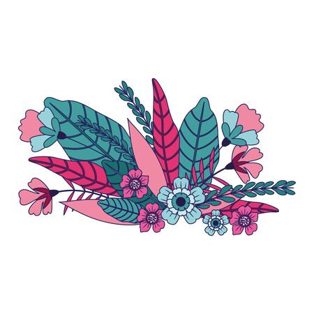 colorful flowers and leaves icon over white background, vector illustration