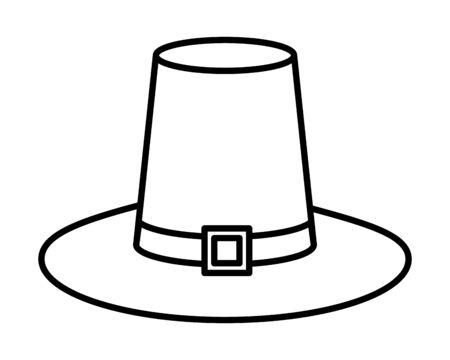 pilgrim hat traditional accessory icon vector illustration design