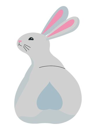 Cute rabbit pet back animal cartoon ,vector illustration graphic design.