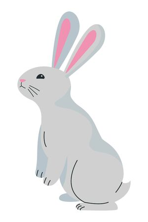 Cute rabbit standing pet animal cartoon ,vector illustration graphic design. Ilustração