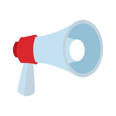 megaphone icon over white background, colorful flat design. vector illustration