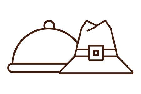 pilgrim hat accessory isolated icon vector illustration design