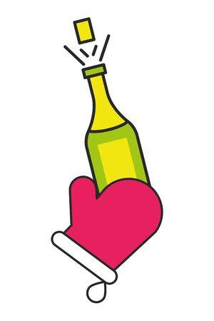 champagne bottle drink isolated icon vector illustration design Foto de archivo - 134690158
