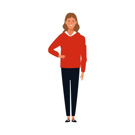 cartoon woman wearing red sweater standing icon over white background, vector illustration